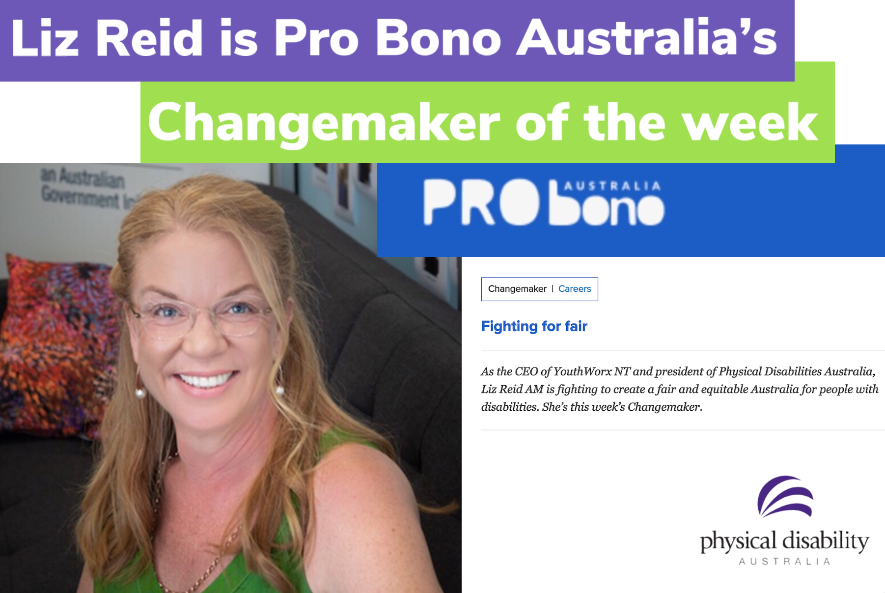 "PDA President Liz Reid is Pro Bono Australia's ""Changemaker of the Week"""